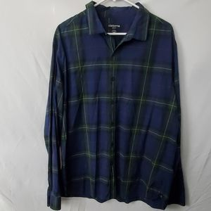 Claiborne plaid button down XXL shirt blue green